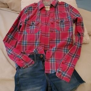 Hollister hot pink plaid shirt